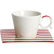 Red Vanilla Freshness Lines Espresso Cup and Saucer Set - Kitchen Things