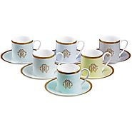 Roberto Cavalli - Lizzard Coffee Cups & Saucers - Set of 6 - Sunrise - Kitchen Things