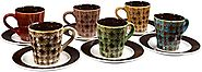 Set of 6 Demitasse Stoneware 2.7 Ounce Espresso Cup and Saucers (Multi Color Reactive All)