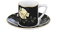 Italian Espresso Cups and Saucers | Ted Baker - Rosie Lee Espresso Cup and Saucer - Black