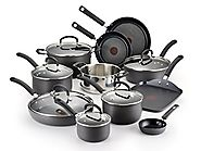 Best Nonstick Induction Cookware Sets 2014 | T-fal E918SH Ultimate Hard Anodized Nonstick Dishwasher Safe Oven Safe Cookware Set, 17-Piece, Black