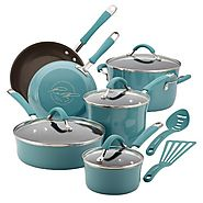 Best Nonstick Induction Cookware Sets 2014 | Rachael Ray Cucina Porcelain Enamel Nonstick 12-Piece Cookware Set, Agave Blue