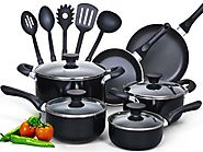 Best Nonstick Induction Cookware Sets 2014 | Cook N Home 15 Piece Non stick Black Soft handle Cookware Set
