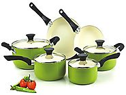 Best Nonstick Induction Cookware Sets 2014 | Cook N Home NC-00358 Nonstick Ceramic Coating 10-Piece Cookware Set, Green
