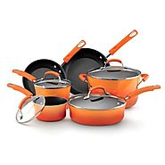 Best Nonstick Induction Cookware Sets 2014 | Rachael Ray Hard Enamel Nonstick 10-Piece Cookware Set, Orange Gradient