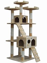 "Best Cat Trees for Large Cats | Go Pet Club 72"" Tall Beige Cat Tree Furniture"