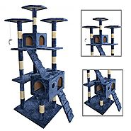 "Best Cat Trees for Large Cats | New 73""Navy Blue Cat Tree Scratcher Play House Condo Furniture Toy Bed Post Pet House 9073"