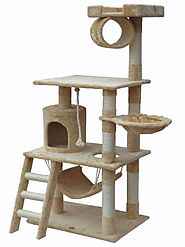 "Best Cat Trees for Large Cats | Go Pet Club 62"" Cat Tree Condo Furniture Beige Color"
