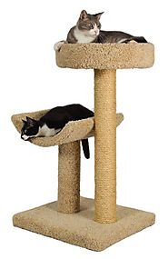"Best Cat Trees for Large Cats | Molly and Friends ""Simple Sleeper"" Premium Handmade 2-Tier Cat Tree with Sisal, Model 23, Beige, Colors May Vary"