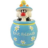 Cat Cookie Jars for Sale | Westland Giftware Looney Tunes Tweety and Sylvester Best Friends Cookie Jar, 10-1/2-Inch