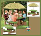 Affordable Kids Outdoor Picnic Table With Umbrella and Benches On Sale | Affordable Kids Outdoor Picnic Table With Umbrella Bench Set On Sale
