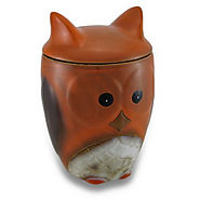 Harvest Owl Cookie Jar Ceramic Treat Jar w/Lid - Kitchen Things