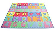 Best Baby Playmats and Gyms | ProSource Kids Puzzle Alphabet and Numbers 36 Tiles with Edges Play Mat