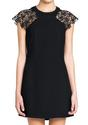 Lace Crochet Shoulder Dress - Black - Lookbook Store