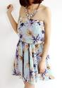 Floral Strapless Chiffon Dress - Lookbook Store