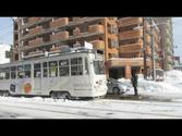 Trams in Snowy Sapporo, Japan