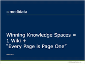 "Winning Knowledge Spaces = 1 wiki + ""Every Page is Page One"""