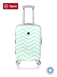 Green Chevron Luggage on Wheels