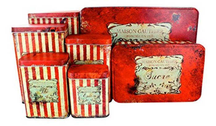 Red kitchen storage jars red kitchen canister sets a for Kitchen set list