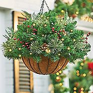 Pre Lit Christmas Hanging Baskets with Lights