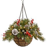 Lightted Christmas Hanging Baskets Berries and Cones