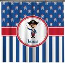 Pirate Themed & Stripes Shower Curtain for Boys