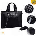 Black Leather Business Briefcase Handbags CW901584 - CWMALLS.COM