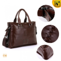 Mens Brown Leather Business Handbags CW901205 - CWMALLS.COM