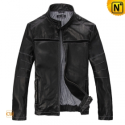 Mens Black Leather Motorcycle Jacket CW871298 - cwmalls.com