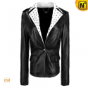 Black Cropped Motorcycle Leather Jacket Women CW670027 - cwmalls.com