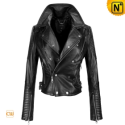 Cropped Black Leather Jacket CW661002 - CWMALLS.COM