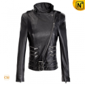 Black Cropped Leather Jacket Women CW670039 - CWMALLS.COM