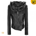 Ruffle Collar Cropped Black Jacket CW670015 - CWMALLS.COM
