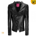 Black Cropped Leather Jacket CW618141 - CWMALLS.COM
