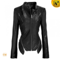 Black/Blue Cropped Leather Jacket CW618133 - CWMALLS.COM