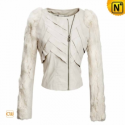 White Cropped Leather Jacket CW670044 - CWMALLS.COM