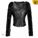 Fur Sleeve Black Cropped Jacket CW670043 - CWMALLS.COM