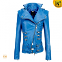 Women Blue Leather Motorcycle Jacket CW670012 - cwmalls.com