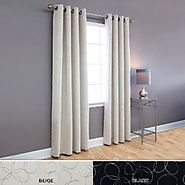 "Flower Foil Printed Blackout Grommet Curtain 52x95"" L - Beige - OQ"