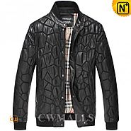 CWMALLS® Mens Black Quilted Leather Jacket CW806055