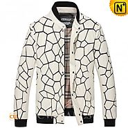 CWMALLS® White Quilted Leather Jacket CW806056