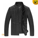 Mens Black Quilted Leather Jacket CW862826 - CWMALLS.COM