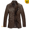 Mens Quilted Brown Leather Jacket CW833606 - CWMALLS.COM