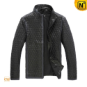 Mens Black Quilted Leather Jacket CW880075 - CWMALLS.COM