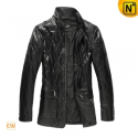 Quilted Black Leather Coat Mens CW861501 - CWMALLS.COM