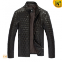 Black Quilted Leather Jacket CW809047 - CWMALLS.COM