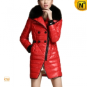 Women Leather Padded Down Peacoat CW681153 - CWMALLS.COM