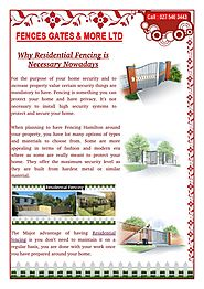 Some Types of Residential Fencing You Can Choose