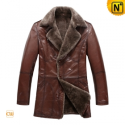 Brown Sheepskin Leather Fur Coat CW819069 - CWMALLS.COM