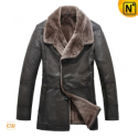 Lamb Fur Cowhide Leather Winter Coat CW819072 - CWMALLS.COM
